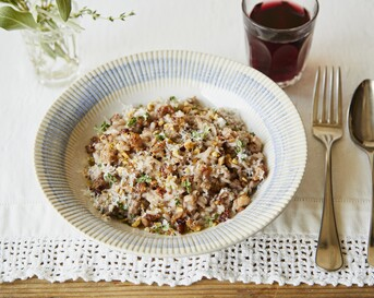 sausage red wine risotto